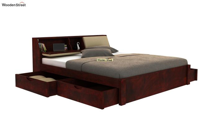 Walken Bed With Storage (Queen Size, Mahogany Finish)-4