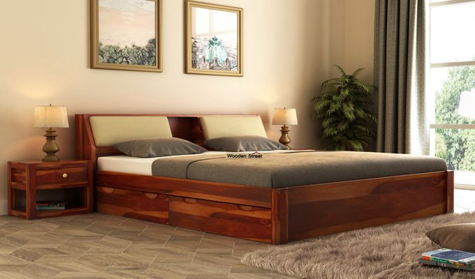 Walken Bed With Storage (Queen Size, Honey Finish)-1