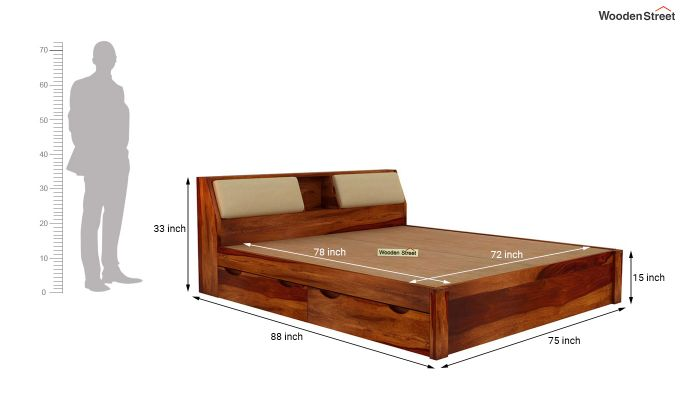 Walken Bed With Storage (King Size, Honey Finish)-8
