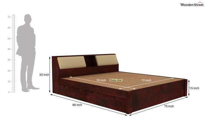 Walken Bed With Storage (King Size, Mahogany Finish)-9