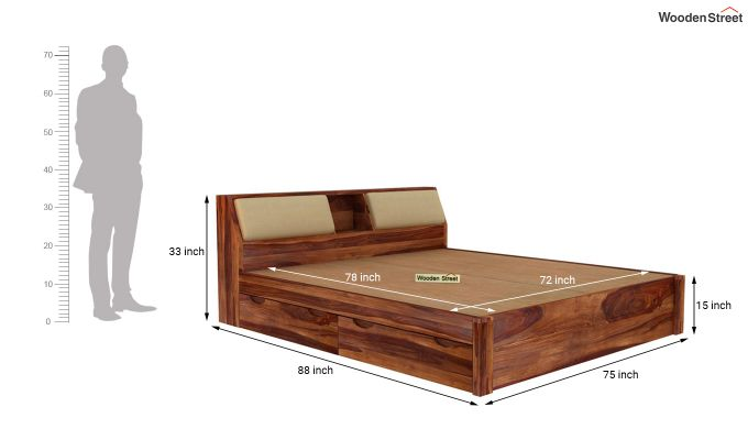 Walken Bed With Storage (King Size, Teak Finish)-8