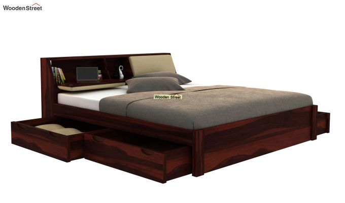 Walken Bed With Storage (King Size, Walnut Finish)-4