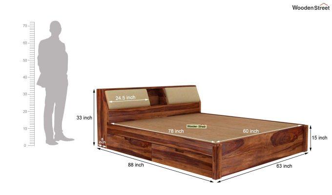 Walken Bed With Storage (Queen Size, Teak Finish)-8