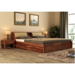 Walken Bed With Storage (Queen Size, Teak Finish)