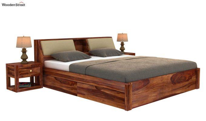 Walken Bed With Storage (King Size, Teak Finish)-2