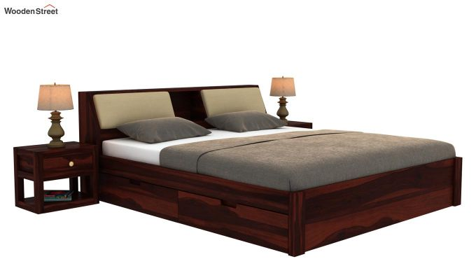 Walken Bed With Storage (Queen Size, Walnut Finish)-2
