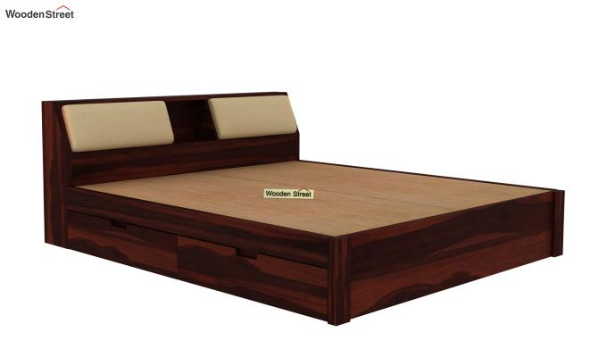 Walken Bed With Storage (Queen Size, Walnut Finish)-7