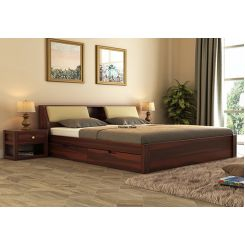 Walken Bed With Storage (Queen Size, Walnut Finish)
