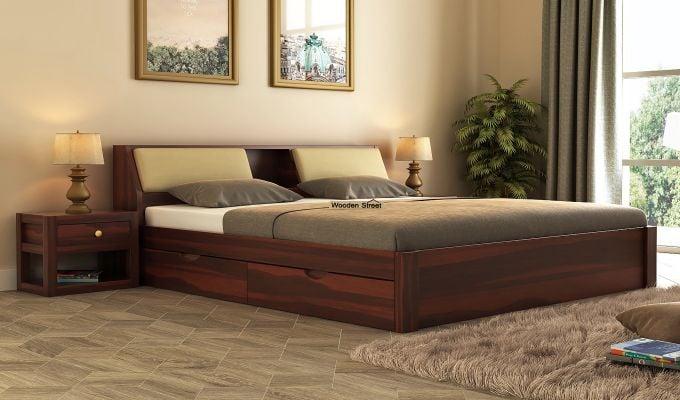 Walken Bed With Storage (Queen Size, Walnut Finish)-1