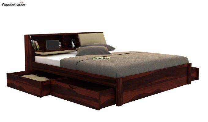 Walken Bed With Storage (Queen Size, Walnut Finish)-4