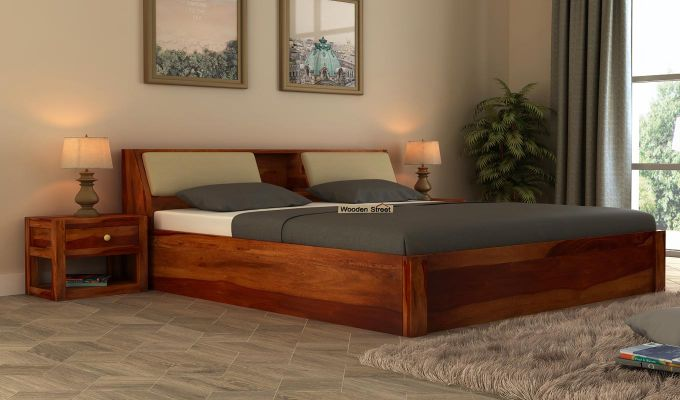 Walken Hydraulic Bed (Queen Size, Honey Finish)-1