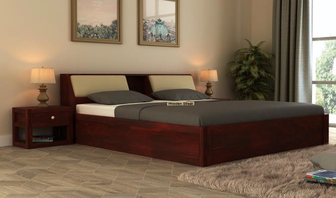 Walken Hydraulic Bed (Queen Size, Mahogany Finish)-1