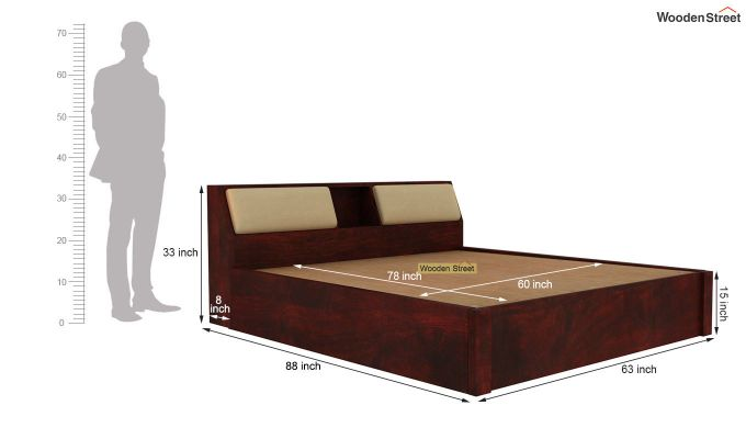 Walken Hydraulic Bed (Queen Size, Mahogany Finish)-8