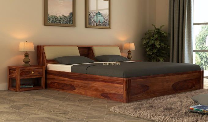Walken Hydraulic Bed (Queen Size, Teak Finish)-1