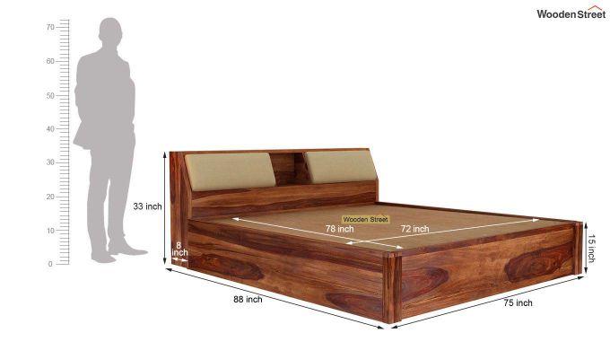 Walken Hydraulic Bed (King Size, Teak Finish)-8