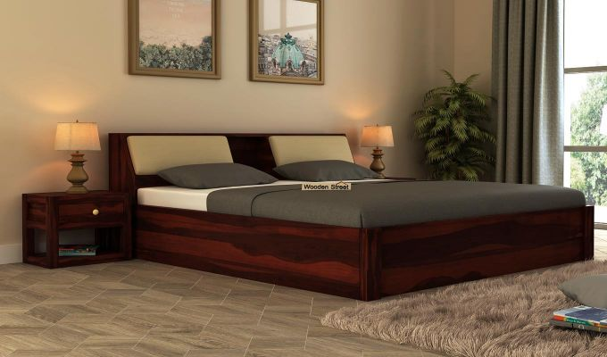 Walken Hydraulic Bed (King Size, Walnut Finish)-1