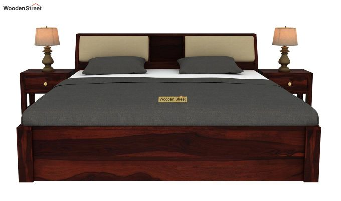 Walken Hydraulic Bed (King Size, Walnut Finish)-3