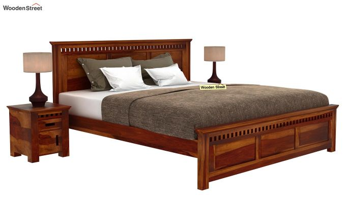 Adolph Bed Without Storage (Queen Size, Honey Finish)-2