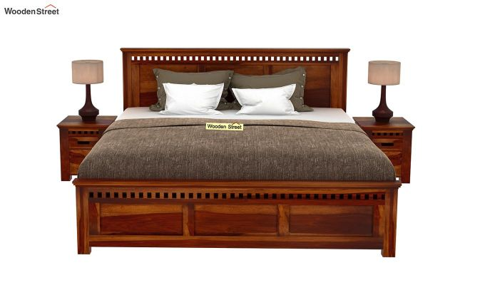 Adolph Bed Without Storage (Queen Size, Honey Finish)-3