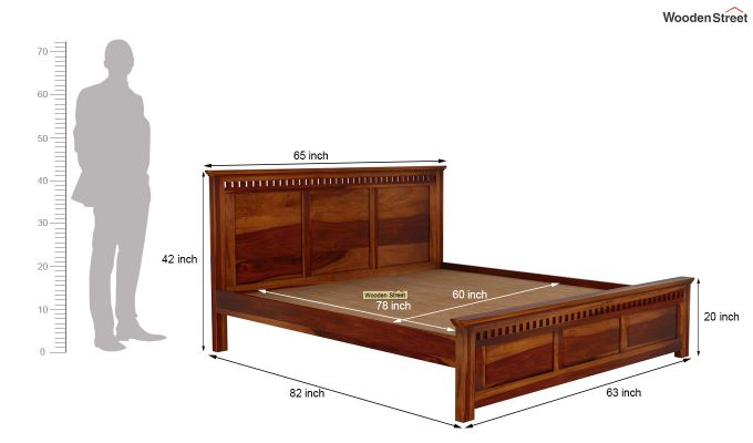 Adolph Bed Without Storage (Queen Size, Honey Finish)-6