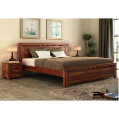 Adolph Bed Without Storage (Queen Size, Honey Finish)