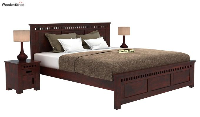 Adolph Bed Without Storage (King Size, Mahogany Finish)-1