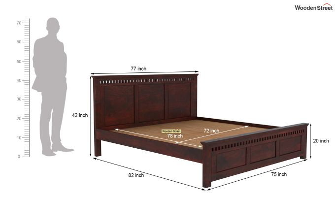 Adolph Bed Without Storage (King Size, Mahogany Finish)-5