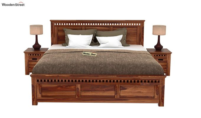 Adolph Bed Without Storage (Queen Size, Teak Finish)-2