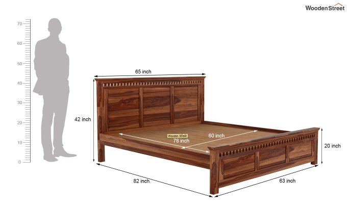Adolph Bed Without Storage (Queen Size, Teak Finish)-5