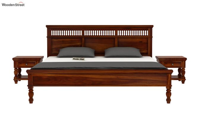 Alanis Bed Without Storage (Queen Size,Honey Finish)-3