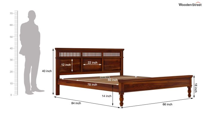 Alanis Bed Without Storage (Queen Size,Honey Finish)-7