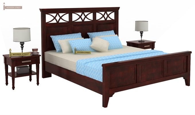 Allan Bed (Queen Size, Mahogany Finish)-1