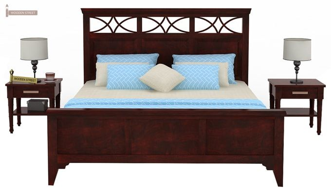 Allan Bed (Queen Size, Mahogany Finish)-2