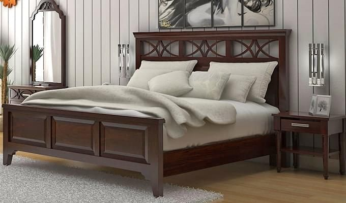 Allan Bed (King Size, Walnut Finish)-1