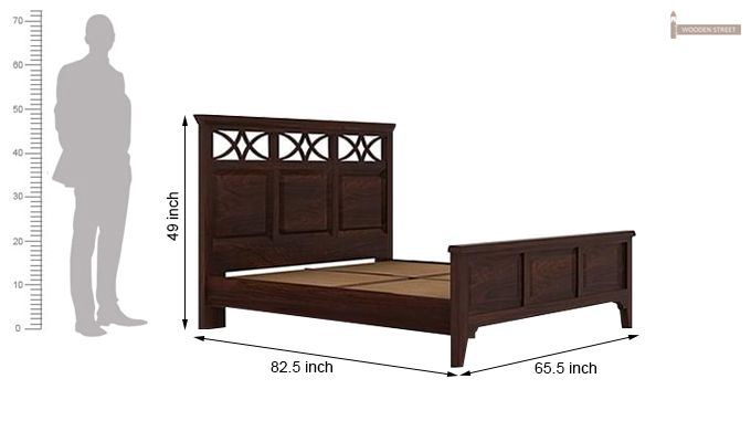 Allan Bed (Queen Size, Walnut Finish)-10