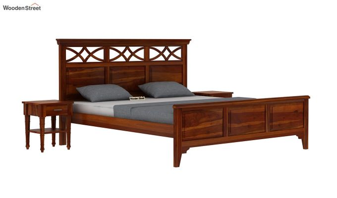 Allan Bed without Storage (Queen Size, Honey Finish)-2