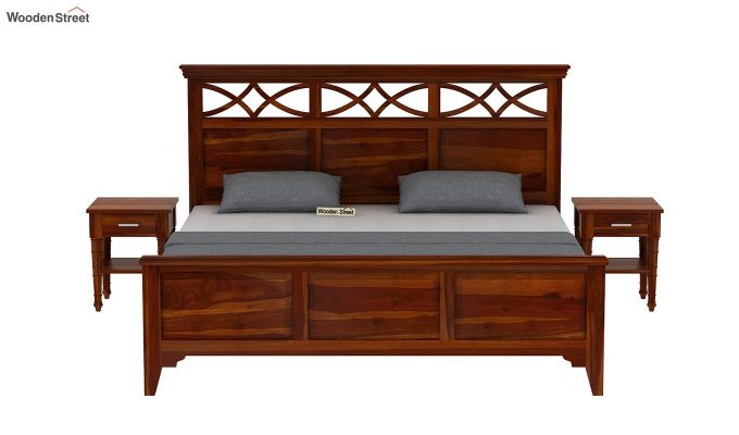 Allan Bed without Storage (Queen Size, Honey Finish)-3