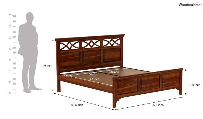 Allan Bed without Storage (Queen Size, Honey Finish)-7
