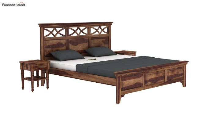 Allan Bed without Storage (Queen Size, Teak Finish)-2