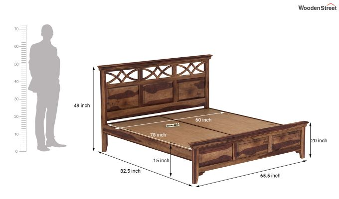 Allan Bed without Storage (Queen Size, Teak Finish)-7