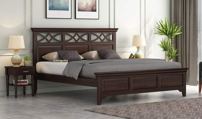 Allan Bed without Storage (Queen Size, Walnut Finish)-1