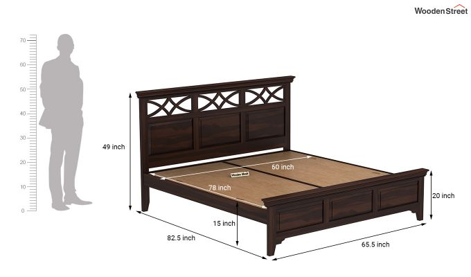Allan Bed without Storage (Queen Size, Walnut Finish)-7
