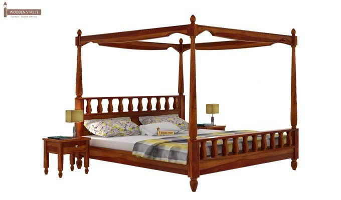 Allure Poster Bed Without Storage (Queen Size, Honey Finish)-2