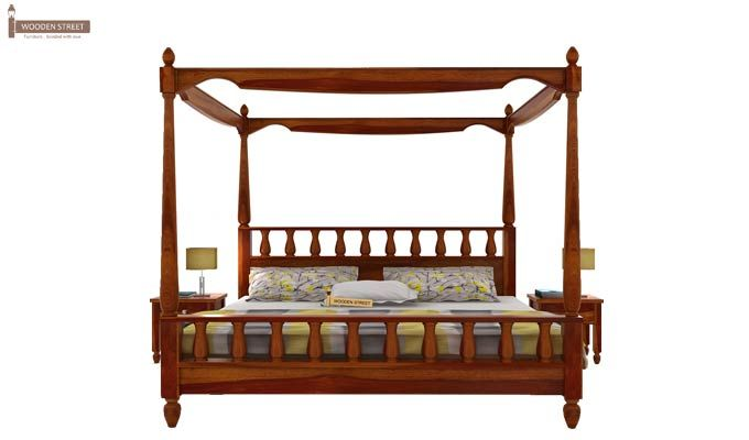 Allure Poster Bed Without Storage (King Size, Honey Finish)-3