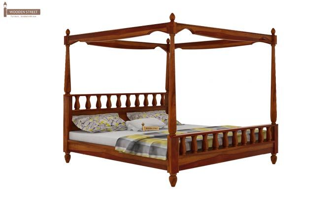 Allure Poster Bed Without Storage (Queen Size, Honey Finish)-4