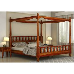 Allure Poster Bed Without Storage (Queen Size, Honey Finish)