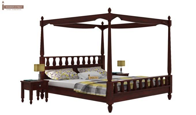 Allure Poster Bed Without Storage (King Size, Mahogany Finish)-1