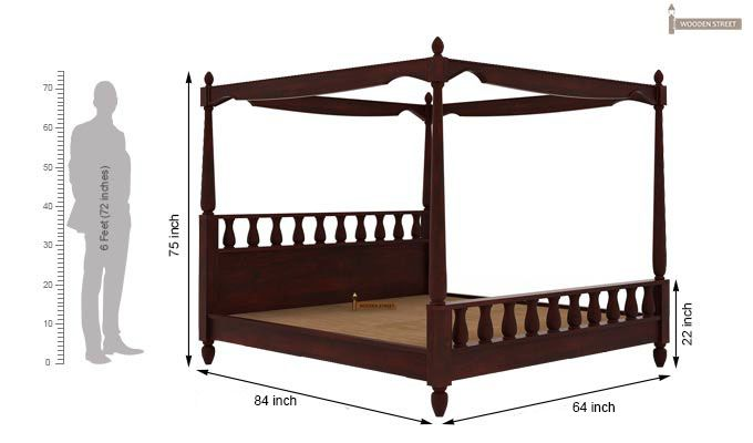 Allure Poster Bed Without Storage (Queen Size, Mahogany Finish)-5