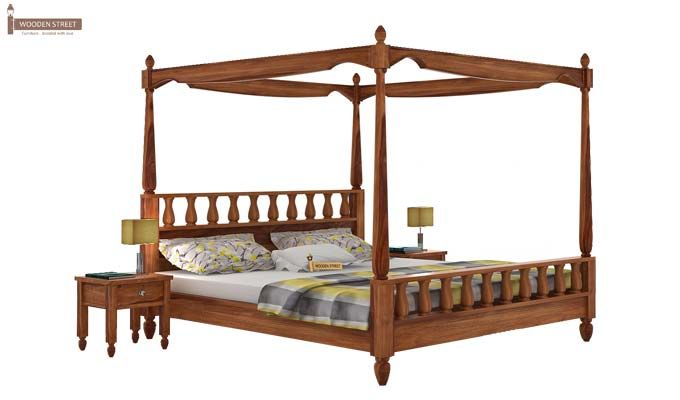 Allure Poster Bed Without Storage (Queen Size, Teak Finish)-1