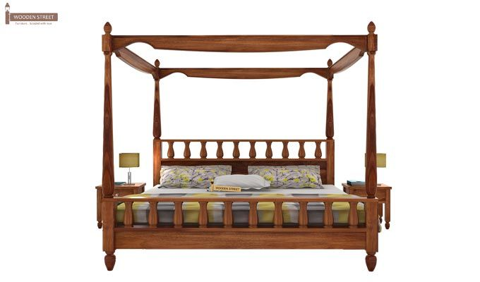 Allure Poster Bed Without Storage (Queen Size, Teak Finish)-2